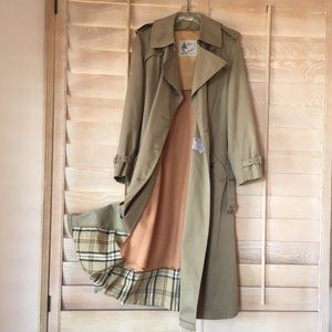 Long Trench Coat Removable Wool Liner Khaki
